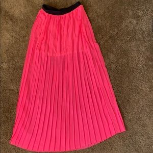 Decree Pink Neon Pleated Maxi Skirt
